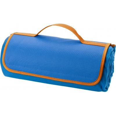 Image of Fleece picnic blanket with waterproof PEVA underside and sponge filling. When folded up the blanket has an easy carry handle.